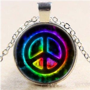 Necklace- NEW- Peace Symbol Colorful